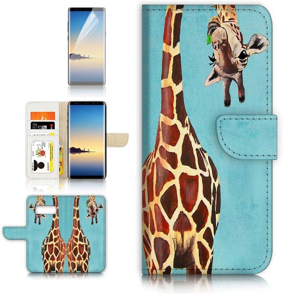 (for Samsung Galaxy S10e) Flip Wallet Case Cover & Screen Protector Bundle - A4131 Giraffe