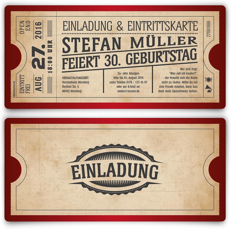 Einladungskarten Einladungskarten Einladungskarten zum Geburtstag (100 Stück) als Eintrittskarte im Vintage Ticket Look in Rot B00QAIUF4M  | Produktqualität  c567cb
