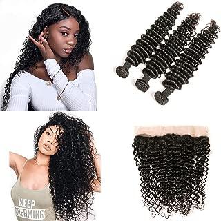 DAIMER 10a Brazilian Deep Wave 3 Bundles 14 16 18+12 Inch Human Hair Extensions with 4x13 Lace Frontal Virgin Human Hair Weave Natural Color 100g/Bundle
