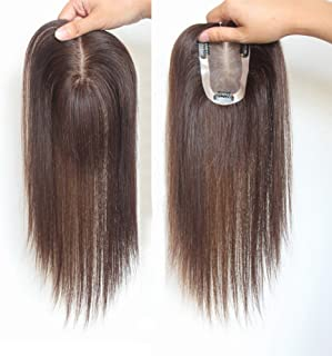 Remeehi Clip In Mono Hair Toppers Human Hair Top Bangs Extensions Hand Made Top Piece Closure Toupee 30Cm Dark Brown