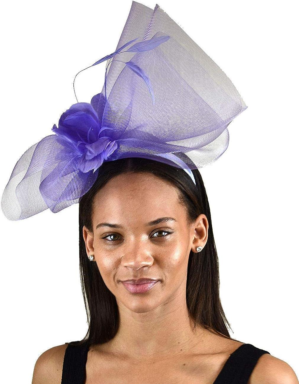 NYFASHION101 Cocktail Elegant Feather Sinamay Fascinator Headban