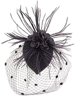 Black Feather Fabric Flower Net Fascinator Hair Clip and Cocktail Hat