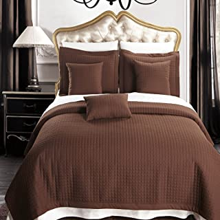 Royal Hotel King Size Chocolate Coverlet 7pc Bedding Set, Luxury Microfiber Checkered Quilted
