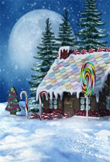 CSFOTO 3x5ft Christmas Party Backdrop Gingerbread House Photography Background Winter Snow Landscape Snowflake Full Moon Lollipop Year Celebration Kids Newborn Photo Booth Studio Props Wallpaper