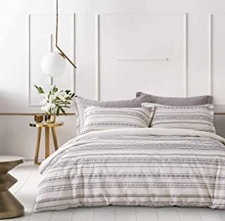 PHF Cotton Boho Yarn Dyed Duvet Cover Set Cozy Soft Home Decoration for Winter Queen Size Ivory