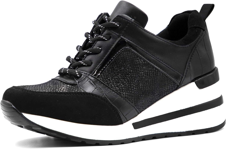 Athlefit Women's Wedge Sneakers High Heel Wedge Platform Sneakers Comfort Walking Shoes