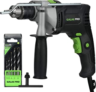 Corded Impact Drill, GALAX PRO 1/2-inch 0-2800RPM Dual Switch Between Electric Hammer Drill and Impact Drill with 5 Drill Bit Set, 360°Rotating Handle, Metal Depth Gauge for Brick, Wood, Steel