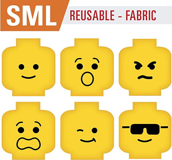 Minifig Heads Emotion Face Wall Decor Reusable Decal Graphic For You Kids Brick Theme Room 2469 Small 5 5in Ea Reusable