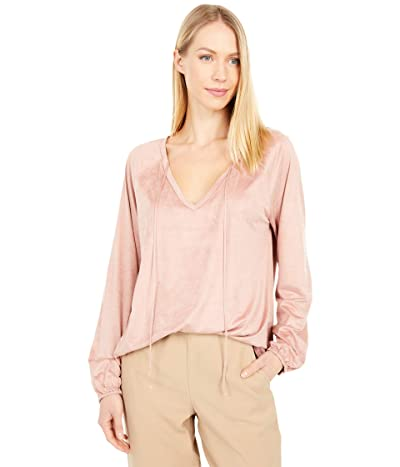 Dylan by True Grit Luxe Suede Knit Long Sleeve V-Neck Tee (Pink Rose) Women