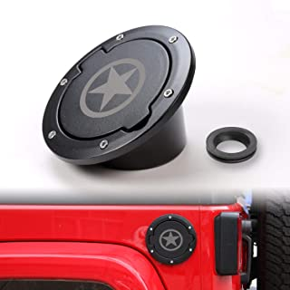 JeCar Gas Tank Cap Cover Fuel Door Cover Gas Caps for Jeep Wrangler JK & Unlimited 2007-2017 2/4 Door(Star Style2)