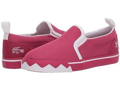 Lacoste Kids Gazon Croco 220 1 (Toddler/Little Kid) (Dark Pink/White) Kid