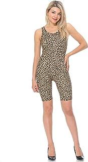 JJJ Women Catsuit Cotton Lycra Tank Bermuda Short Yoga Bodysuit Jumpsuit w/Hand Printing Art Works