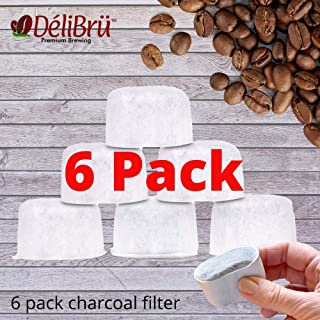 6Pack KEURIG Compatible Water Filter Cartridges For Keurig by Delibru - Premium Activated Charcoal Used in Filters (6)