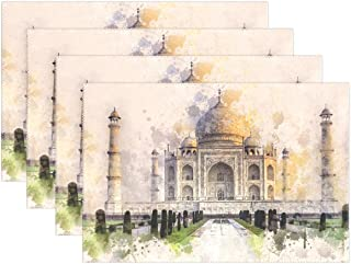 DNOVING Taj Mahal Ivory-white Marble Agra India 17th Placemats Set Of 4 Heat Insulation Stain Resistant For Dining Table Durable Non-slip Kitchen Table Place Mats