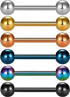 OUFER Piercing per lingua, piercing per lingua, piercing per capezzoli, in titanio massiccio, grado 23, 6 pezzi