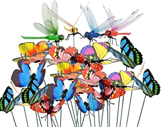 Antallcky 60pcs Dragonfly Butterfly Stakes Garden Ornaments Yard Planter Flower Pot Bed Garden Decor Butterflies Christmas Decorations,Artificial Dragonfly Butterflies on Metal Wire Plant Stake Stems