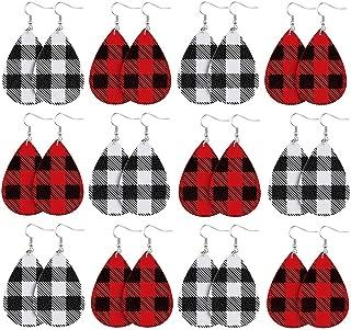 Christmas Faux Leather Earrings Buffalo Plaid Check Teardrop Dangle Earring Women Xmas Jewelry Decor Accessory