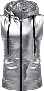 ZEROYAA Mens Hipster Metallic Zip Up Sleeveless Hooded Vest T Shirt with Kangaroo Pocket
