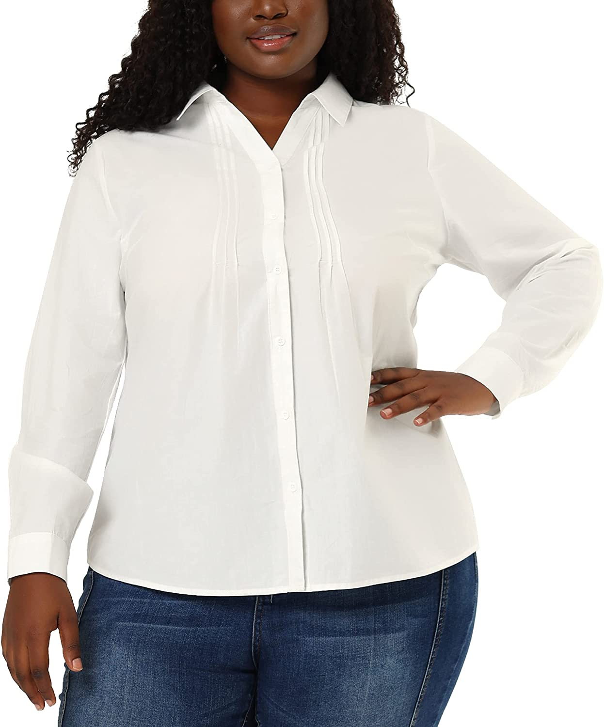 Agnes Orinda Plus Size Shirts for Women Button Down Shirt Front Pleated Long Sleeve Blouse