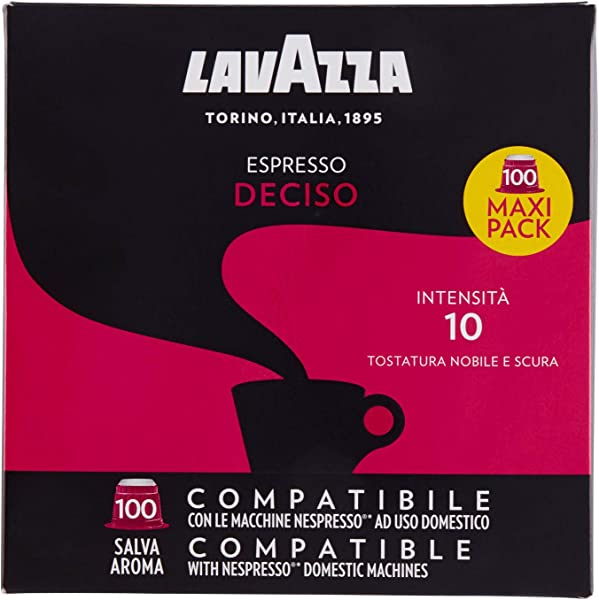 Lavazza Deciso Espresso Dark Roast Capsules Compatible With Nespresso Original Machines Pack Of 100