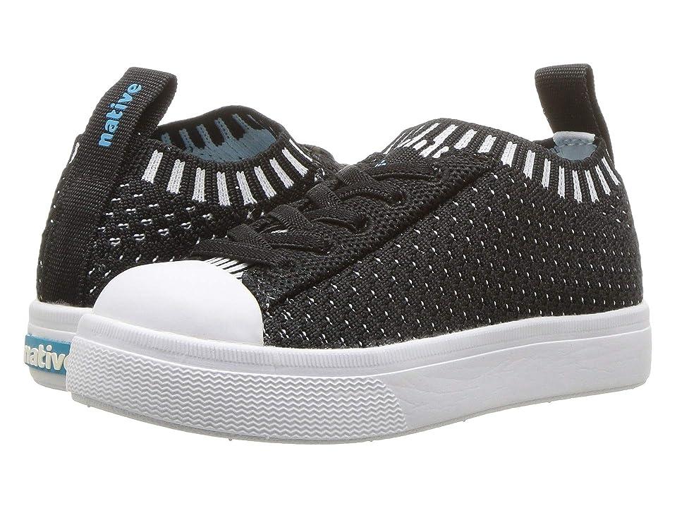 Native Kids Shoes Jefferson 2.0 Liteknit (Toddler/Little Kid) (Jiffy Black/Shell White) Kids Shoes