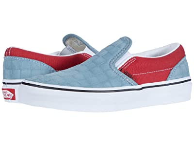 Vans Kids Classic Slip-On (Little Kid) ((Deboss Checkerboard) Blue/Pompeian Red) Boys Shoes