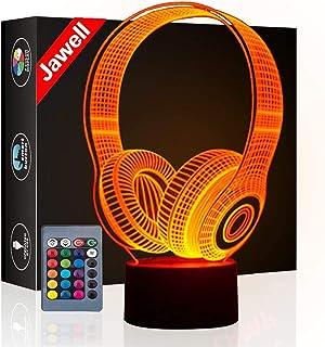 Weihnachtsgeschenk Headset 3D Illusion Lampe Nachtlicht Neben Tischlampe, Jawell 16 Farben Auto Ändern Touch Schalter Schr...