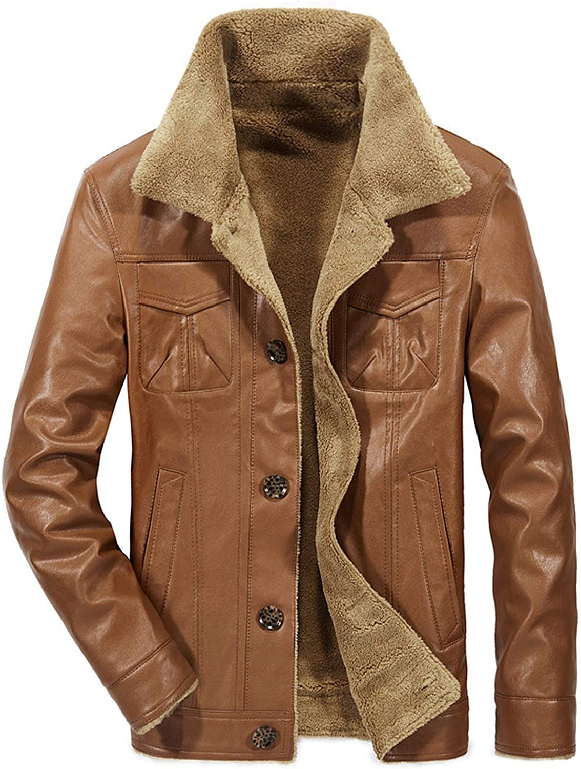 Men Pu Leather Jacket Special sale item Gifts Winter Thick Pilot Warm Co Male Fur