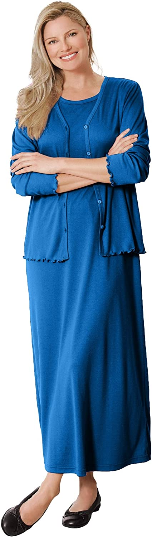 Woman Within Women's Plus Size Lettuce Trim Knit Jacket Dress