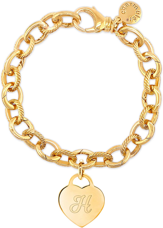Heart Initial Charm Bracelets for Women - Plated Gold Engrav 超特価SALE開催 14K 信託