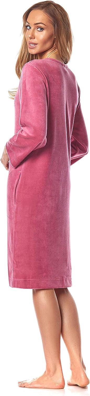 L&L -2033 Leichter Damen Bademantel, Morgenmantel aus Baumwolle mit Reißverschluss. Kirsche