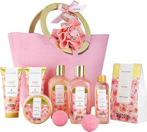 Spa Luxetique Coffret de Soins pour Femme, 10 PC Coffret de Bain au Parfum de Rose, Gel Douche, Bain Moussant, Cadeau...