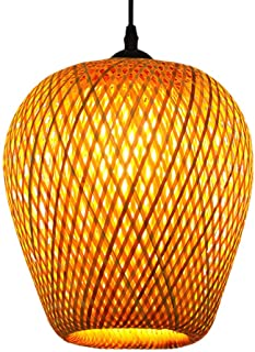 FRCOLOR Bambou Lanterne Pendentif Lampe En Rotin Lustre En Osier Tissé Plafond Éclairage Suspendus Luminaire Sud- Est Asia...