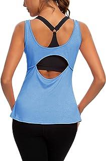 ZHENWEI Womens Sexy Yoga Shirts Open Back Activewear Workout Tops Sports Tank Tops