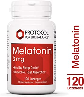 Protocol For Life Balance - Melatonin 3 mg - Chewable with Vitamin B6 for Fast Absorption that Encourages Healthy Sleep and Gastrointestinal Function - 120 Lozenges