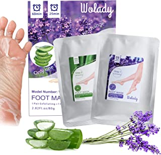 Foot Mask 2 Packs, Wolady Foot Peeling Mask and Moisturizing Socks, for Foot Care, Peel Off Calluses & Dead Skin, Making Y...