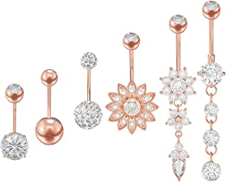 YSense Belly Button Rings Dangle Bars Stainless Steel Belly Piercing Button Cubic Zircon Jewelry Silver