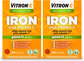 Sponsored Ad - Vitron-C High Potency Iron Supplement with 125 mg Vitamin C, 60 Count, 2 Pack