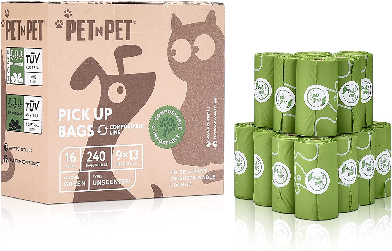 PET N Direct store 2021 spring and summer new Dog Poop Bag Vegetable-Base 100% Compostable Bags