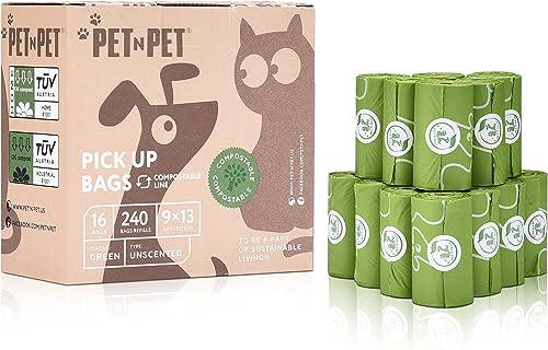PET N PET Biodegradable Poop Bags Compostable Dog Waste Bags 240 Counts 16 Rolls Poop Bags Pet Clean up Bags Green Ea...