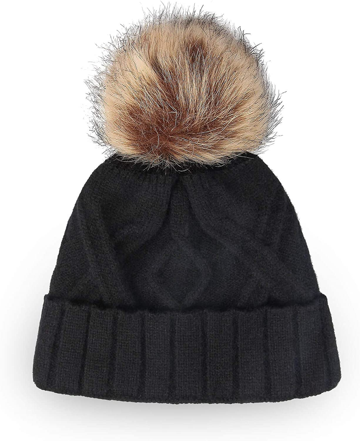 OZERO Winter Hats Beanie for Women, Knit Pom Pom Hat Thick Double Layer Fleece Warm Linning for Cold Weather
