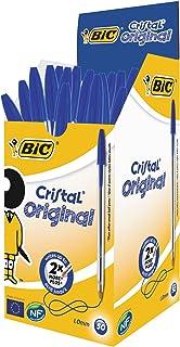 BIC Cristal Original - Caja de 50 unidades, bolígrafos punta media (1,0 mm), color azul
