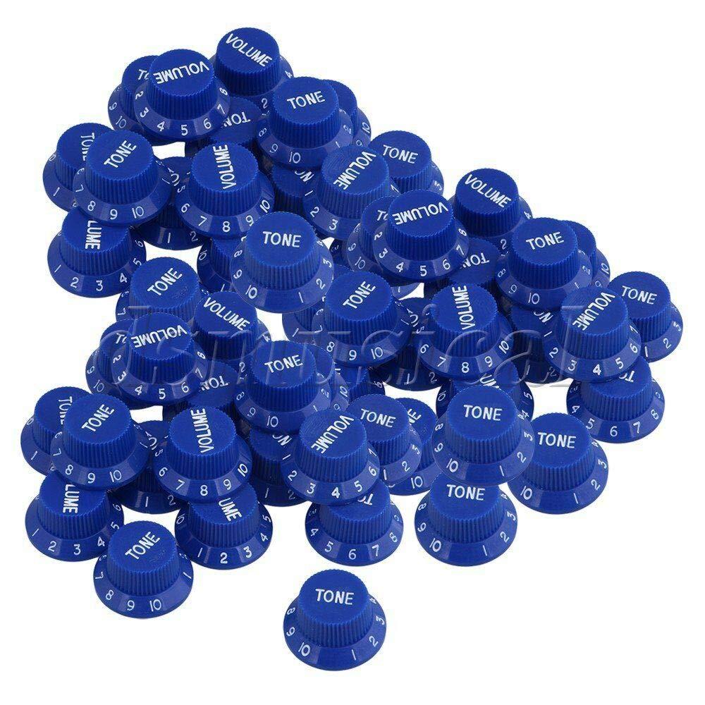 40% OFF Cheap Sale Guitar Parts 50 Piece Dark Blue Plastic G Volume2 Tone sold out Knobs 1