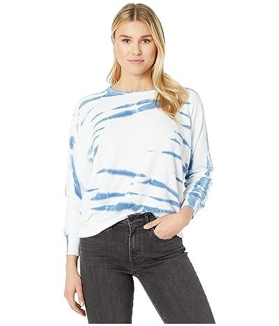 American Rose Raelyn Tie-Dye Fleece Pullover Sweatshirt (White/Blue) Women