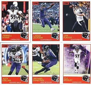 2019 Panini Score Football Veteran Baltimore Ravens Team Set of 10 Cards: Joe Flacco(#82), Lamar Jackson(#83), Terrell Suggs(#84), Michael Crabtree(#85), Alex Collins(#86), C.J. Mosley(#87), Gus Edwards(#88), Justin Tucker(#89), John Brown(#90), Mark Andrews(#91)