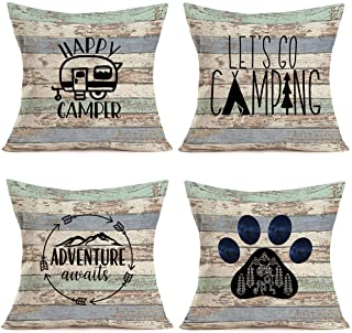 YANGYULU Hopyeer 4Pcs Vintage Rustic Wood Happy Camper Decorative Throw Pillow Cushion Case Cover Cotton Linen Adventure A...