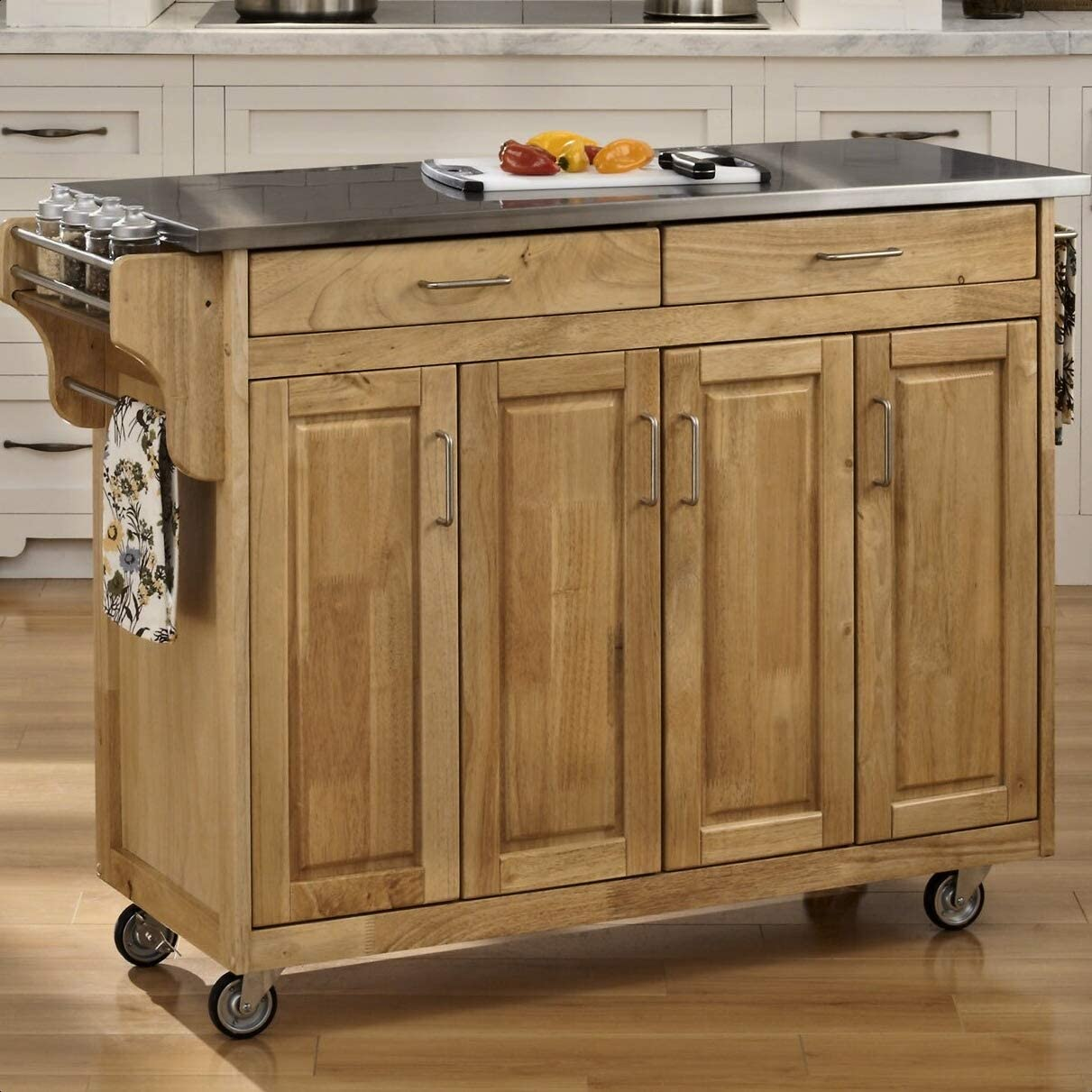 Regiene Kitchen Island Today's only with Stainless Interio In a popularity Top Steel Cabinet