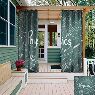 DONEECKL Outdoor Curtain Panel for Patio Doodle Physics Science Education Theme Mathematical Formula Equation on School Board Energy Efficient, Room Darkening W72 x L84 Army Green White
