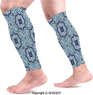 Flexible Breathable Comfortable Leg Skin Protector Sleeve Moroccan Portuguese Style Classic Tiles Ornaments Islamic Historical Buildings Art Calf Compression Sleeve