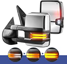 MOSTPLUS Power Heated Chrome Towing Mirrors for Chevy Silverado Suburban Tahoe GMC Serria Yukon 2008-2013 w/Sequential Turn light, Clearance Lamp, Running Light(Set of 2)